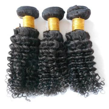 1 Bundle/100g Peruvian Virgin Hair Weft Curly Human Hair Extension 1B Black