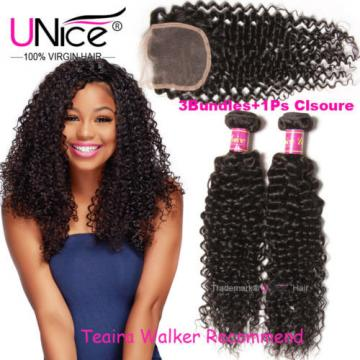 """8A Peruvian Curly Virgin Hair 3 Bundles 14+16+18 WIth 14"""" Lace Closure Hair Weft"""