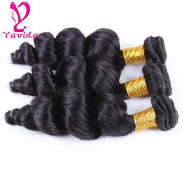 7A Loose Wave Virgin Peruvian Human Hair 3 Bundles Extensions Weft 300g