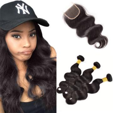 3 Bundles 300g Peruvian Virgin Hair Body Wave Human Hair Weft with Lace Closure