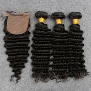 7A Peruvian Human Virgin Hair Deep Wave 3 Bundles with 4*4 Silk Base Closure