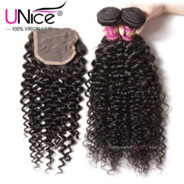 3 Bundles With 4*4 Lace Closure UNice 8A Virgin Peruvian Curly Human Hair Weft