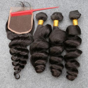 Grade 8A Unprocessed Human Virgin Hair With Closure Peruvian loose wave