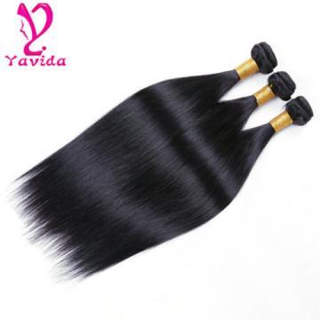 3Bundles/300g 7A Virgin Peruvian Straight Hair Extension Human Weave Hair #1B