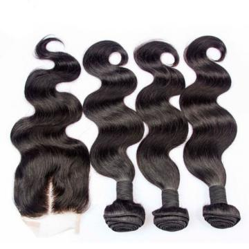 "Peruvian Virgin Hair 7A Body Wave 14 16 18+12"" Virgin Hair Lace Closure 350g"