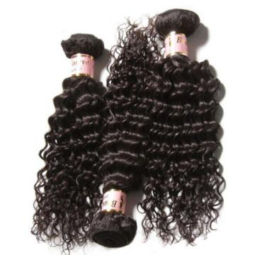 "300g Peruvian 7A Curly Virgin Human Hair With 13x4"" Free Part Lace Closure"