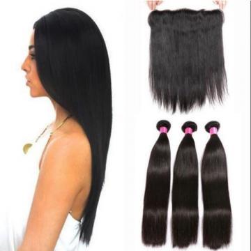 13X2 Ear to Ear Lace Straight Frontal Closure + 3 Pcs Peruvian Virgin Human Hair