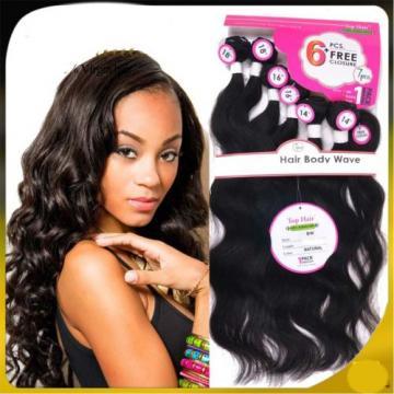 Top Grade 6 Bundles Human Hair Weave +1 pcs Lace Closure Virgin Peruvian Hair