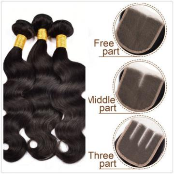 Peruvian Virgin Hair 3 Bundles Body Wave Human Hair Weft with 1 pc Lace Closure