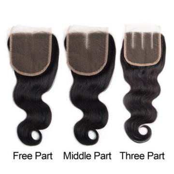 Peruvian Virgin Hair 3 Bundles Body Wave Human Hair Weft with 1 pc Lace Closure