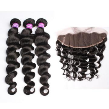 "Free Part 13x4"" Lace Closure With 3 Bundles Peruvian 7A Loose Wave Virgin Hair"