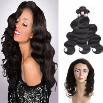 8A 360 Lace Frontal Closure With 3 Bundles Peruvian Virgin Human Hair Full Head