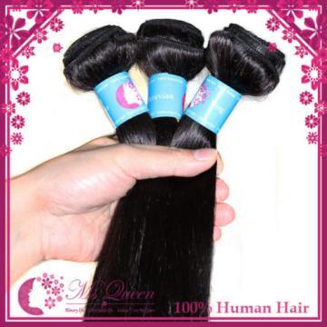 "300g 20"" Peruvian Virgin Human Hair Extensions 1B Soft Straight Human Hair Weave"