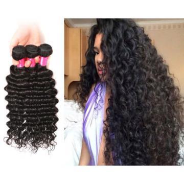 Unprocessed Peruvian Virgin Human Hair Extensions Deep Wave 3 Bundles 300g Weft