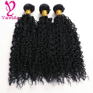 7A Virgin Peruvian Kinky Curly Human Hair Extensions 3 Bundles 14''+16'+18'' 1B
