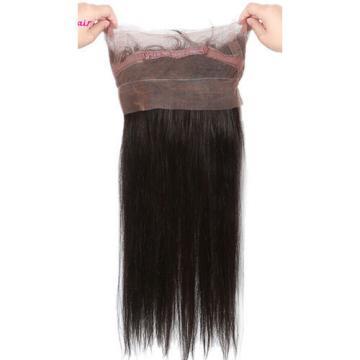 Peruvian Virgin Hair Straight 2 Bundles Hair Weft & 1pc 360 Lace Frontal 22x4x2