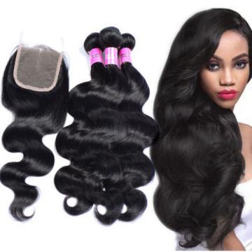 100% Peruvian Body Wave Human Virgin Hair Wave 3 Bundles with Lace Closure 350g