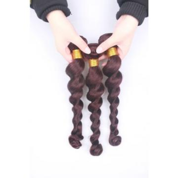 6A 3 Bundles Peruvian Virgin Loose Wave Burgundy Human Hair Extensions 300g