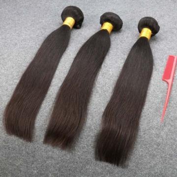 7A Peruvian Virgin Human Hair Straight 3 Bundles with 4*4 Silk Base Closure