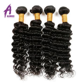 4Bundles Deep Wave Peruvian Virgin Human Hair Extension Weave remy Curly 400g 8A