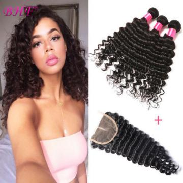 3 Bundles Deep Wave Peruvian Remy Virgin Human Hair Extensions With Lace Closure