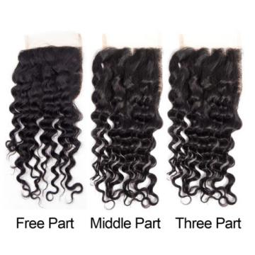 3 Bundles with Lace Closure Peruvian Virgin Hair Deep Wave Human Hair Extensions