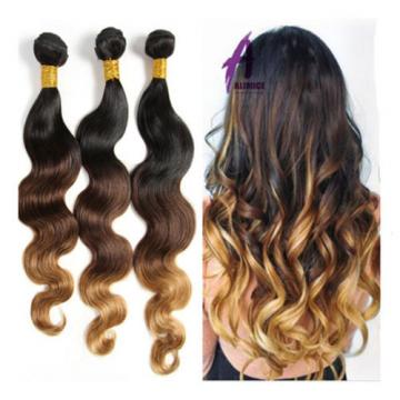 3Bundles Ombre Body Wave Peruvian Virgin Remy Hair Extensions Weave Double Weft