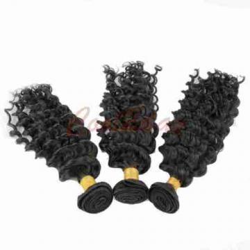 "1 PC  8"" Peruvian Human Virgin Hair Deep Wave 3.5*4 Lace Closure with 3 Bundles"