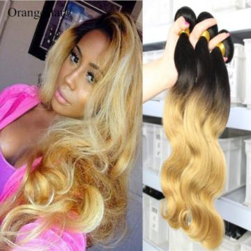 1b27 Blonde Ombre Human Virgin Hair Extension Peruvian Body Wave Hair 3 Bundles