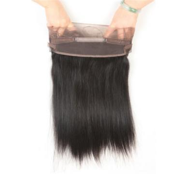 Pre Plucked Peruvian Virgin Hair Straight 360 Lace Frontal Closure Free Shipping