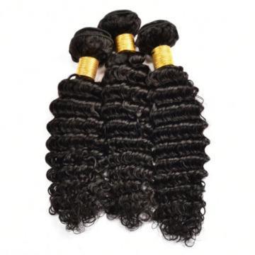 3 Bundles 300g Deep Wave Human Hair Weft Peruvian Virgin Human Hair Extensions