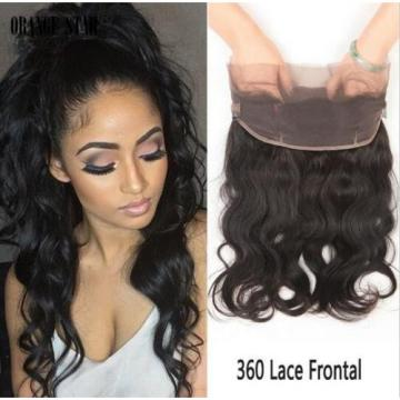 360 Free Part Lace Frontal 100% Peruvian Virgin 8A black remy Human Hair Weave
