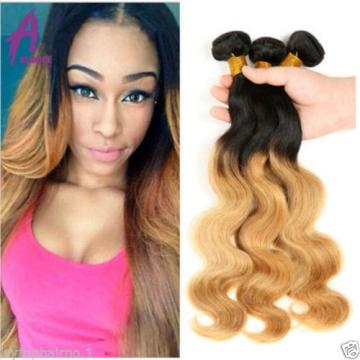 Ombre Body Wave Peruvian Virgin Hair With Closure human hair Extensions 4bundles