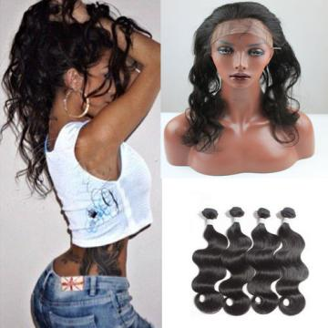 Peruvian Virgin Human Hair Body Wave 4Bundles/200g & 1pc 360 Lace Frontal