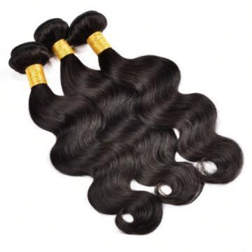 3 Bundle 300g Body Wave Human Hair Extensions Peruvian Virgin Hair Natural Black