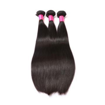 Peruvian Virgin Human Hair Extensions Straight 3 Bundles 300g With Lace Closure
