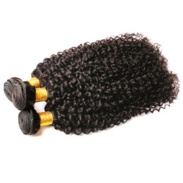 "7A Peruvian Virgin Human Hair Wefts Kinky Curly Hair Extensions 300G 14""+16""+18"""