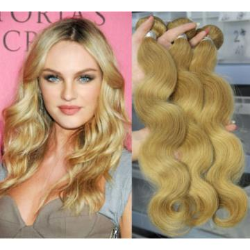 Blonde Peruvian 7A Virgin Human Hair Extension Body Wave Hair Weave Weft 2 PCS