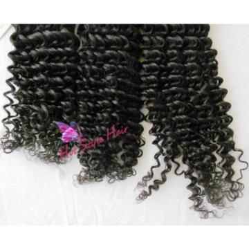 Peruvian Virgin Hair Weft Curly Black Hair Extension Hair Weave 8/8/8 Inch