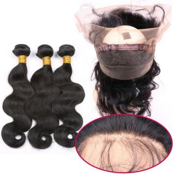360 Lace Frontal with Bundle Body Wave Peruvian Virgin Hair with Lace Frontal 8A