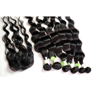 "Brand New Loose Wave 6pcs 16""18""20""+Top Closure Virgin Peruvian Hair Extension"
