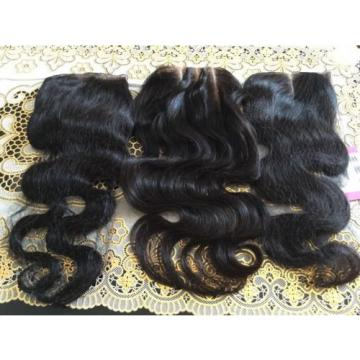 Peruvian 8A Virgin Hair Body  Wave Lace Closure, Free, Middle, & 3 Part. 10""