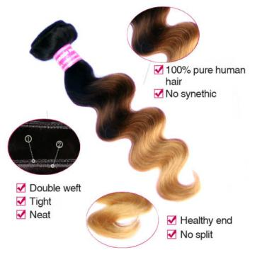 1 bundles/100g Ombre Peruvian Virgin Human Hair body wave Extension  #1B#4#27