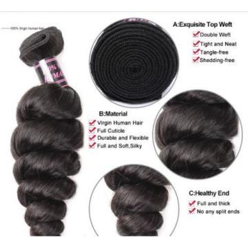 300g LOOSE WAVE A* Brazilian Peruvian Real Virgin Human Hair Extensions 7A Weave