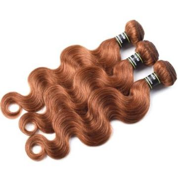 Luxury Body Wave Peruvian Auburn #30 Wavy Virgin Human Hair Extensions 7A Weave