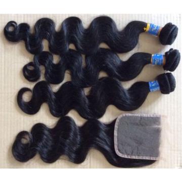 "100% Finest Peruvian Virgin Hair Wavy 1B 20"" 22"" 24"" + 18"" 3Part Closure 4x4"