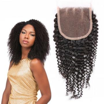 3Bundle+Closure PERUVIAN virgin KINKY CURL Human hair Extensions (350g)FAST SHIP