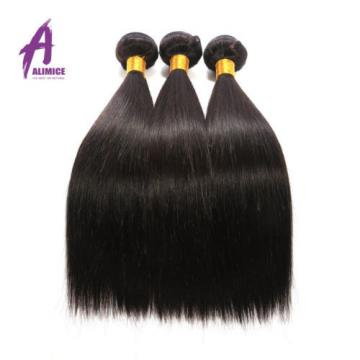 Straight Peruvian Hair Virgin Remy Human Hair Extensions Weave 3 Bundles 300g