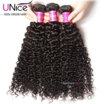 UNice Peruvian Curly Virgin Hair Weave 3 Bundles 100% 8A Human Hair Extensions