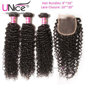Peruvian Curly Hair 3 Bundles With Lace Closure 8A Virgin Human Hair Extensions
